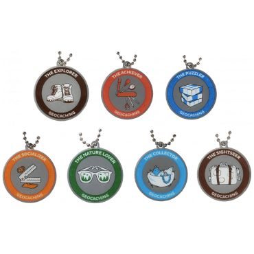 7SofA Travel Tag Set: All 7 $33.00 USD Did you complete them all? Then buy all 7 and save! During the 7 Souvenirs of August celebration, we want people to celebrate the many types of geocaches and geocachers. You may be a Nature Lover, a Socializer, an Explorer, a Collector, a Puzzler, or a Sightseer. No matter who you are, you can collect all of the souvenirs. Once you get all 6, you are also an Achiever! Once you are an Acheiver, you should celebrate with a set of trackable tags!