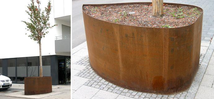 Pflanztrog Ala in Böblingen Flugfeld Böblingen-Sindelfingen, Cortenstahl, Stadtmobiliar, Corten Steel, street furniture