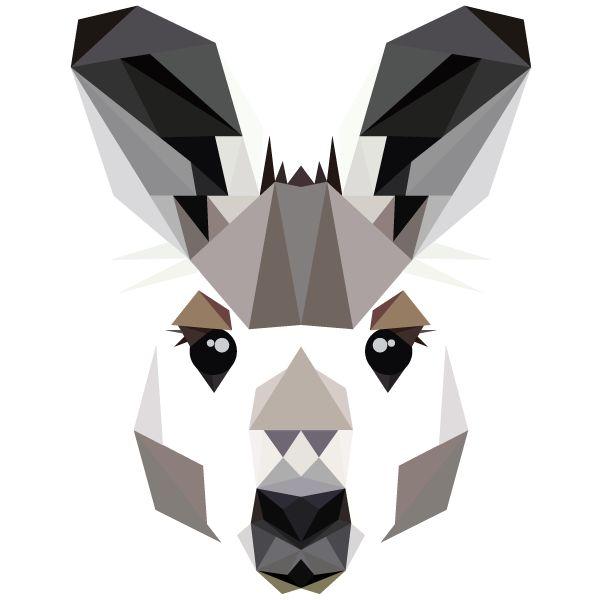 The Animal Alphabet in Primitive Portraits. Kangaroo. Geometric shapes
