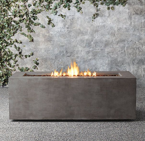 for the rooftop patio mendocino propane rectangle fire table restoration hardware - Fire Tables