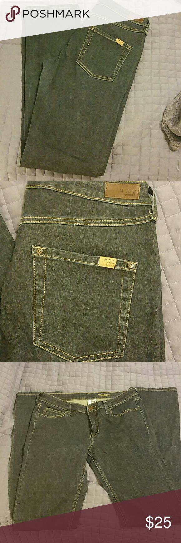 MNG by Mango Skinny Jeans Darker wash denim. Stretch. Carmen style. Washed and worn once....and these are very long. I am 5'4 i think these could be talls. Flattering pockets and nice weight to them. Mango Jeans Skinny