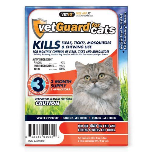 vetGuard for Cats (All Weights) 3 Month Supply (Pack of 3) USE ONLY FOR CATS AND KITTENS 8 WEEKS & OLDER.. WATERPROOF, QUICK ACTING, LONG-LASTING. TOTAL 3 PACKS.  EACH PACK CONTAINS 3 MONTH SUPPLY.. FREE APP AT www.VETGUARD.com. CONTROLS FLEAS, TICKS, CHEWING LICE AND MOSQUITOES.  #VetGuard #PetProducts