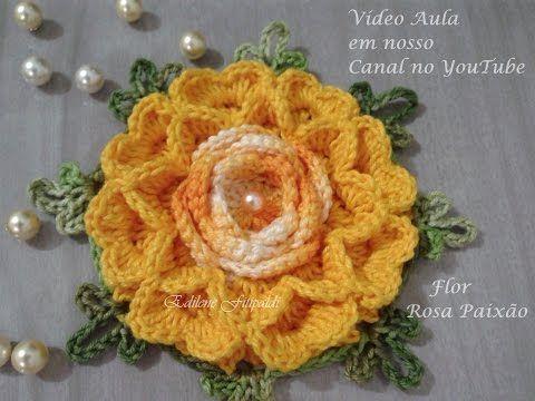 Flor em Crochê - Flor da Amizade - Coleção Botões de Rosa - Simone Eleotério - YouTube