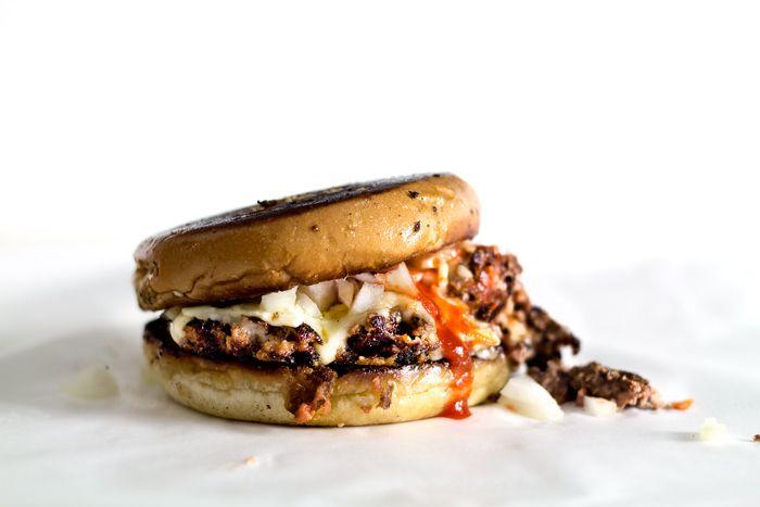 """""""sriracha-chopped cheese"""".  in other words, a sriracha-seasoned burger, cooked like a cheesesteak.  YUM."""