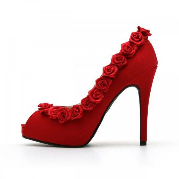 Women S Wedding Shoes Red Peep Toe Heels Bridal Suede Platform Pumps With Flower For Dancing Club Chic Fashi Red Wedding Shoes Floral Shoes Red High Heel Shoes