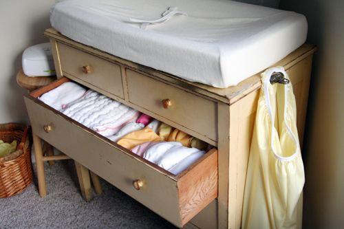 Simple, tidy cloth nappy storage idea.