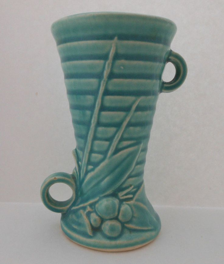 """Vintage Brush MCCOY Pottery Vase Planter USA Double Handle Holly Berry Green 5"""""""