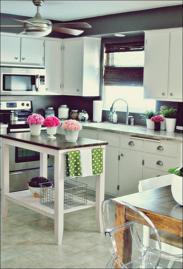 10 Ideen für kleine Kücheninseln praktische Möbel für kleine Räume   Küche Deko   Kitchen ...