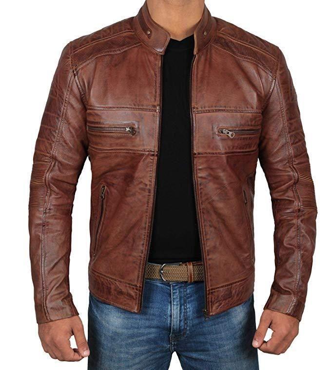 Brown Blazer Mens Coat Leather Jacket Cafe Racer Motorcycle Sheepskin Bomber Top