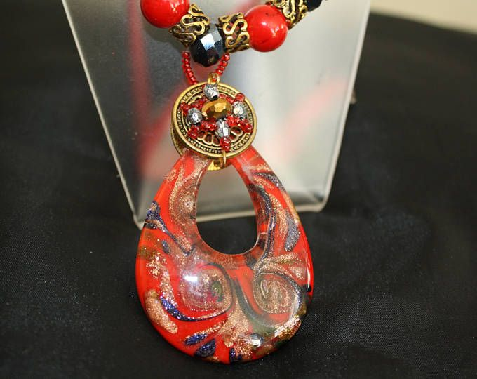 Stunning Red Trendy Murano glass and lampwork necklace
