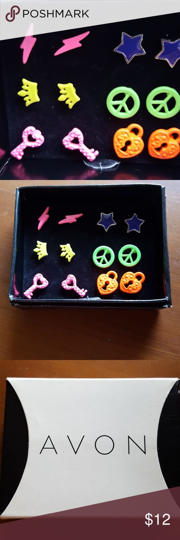Set of 6 neon colored post earrings. Fun set of neon earrings. Avon brand. One pair of purple stars, green peace signs, orange heart shaped locks, pink lightning bolts, yellow crown and pink heart shaped keys. Very bright and fun. Brand new, never been worn. Avon Jewelry Earrings