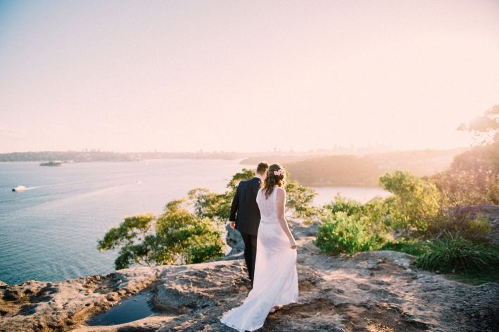 Sydney Mosman Wedding, Gunners Barracks, Clifftops, Sunset, Bride and Groom Portrait