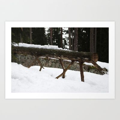 Winter log Art Print by Plasmodi - $16.00