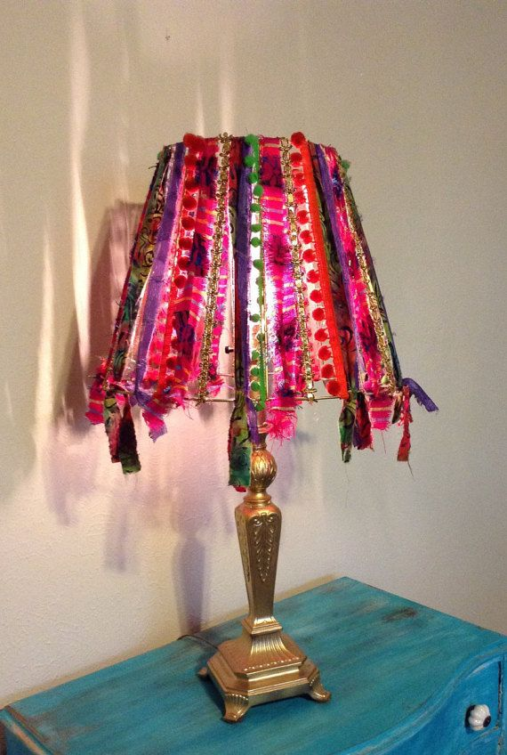 Boho Gypsy Lampshade Chandelier PomPoms Gold by ChasingPeaceMarket