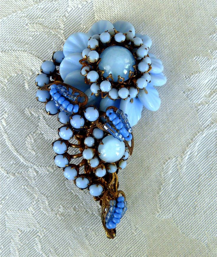 Vintage Miriam Haskell Flower Form Brooch w Carved Baby Blue Beads Cabs   eBay
