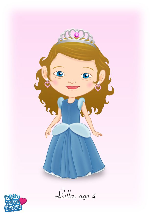 A custom made portrait of Lilla as a Princess. To add text to your beautiful portrait of your child, it is £38 - check out our Etsy store https://www.etsy.com/uk/listing/185691474/custom-kids-portrait-fairytale-cartoon?ref=listing-shop-header-1