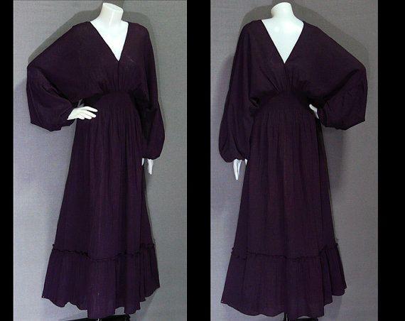 Dark Purple Gypsy Long Maxi Dress with Sleeve by GYPSYDRESS, $38.00