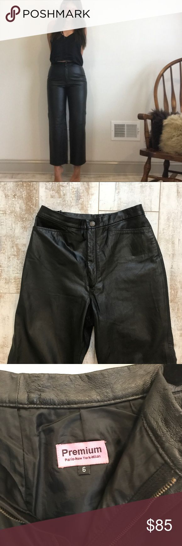 """High waisted VTG leather trousers - AMAZING! Amazing truly high waisted leather trousers. 100% genuine leather. Lined until shins. Two front functioning pockets, zip front closure. There are a few faint scratches to surface of leather, but hardly noticeable.  Rise: 12.5"""" Waist: 28"""" (Flat & doubled) Hips : 40"""" (Flat & doubled) Inseam: 30"""" VTG Pants Trousers"""