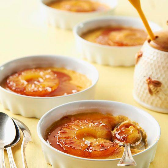 Sticky Honey-Pineapple Custards