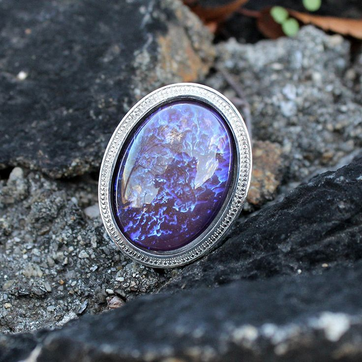Dragon's Breath Opal Ring, Mexican Fire Opal Ring, Natural Vintage Glass Ring, Sterling Silver Ring, Jewelry Gift, Blue Ring, Opal Ring, Handmade
