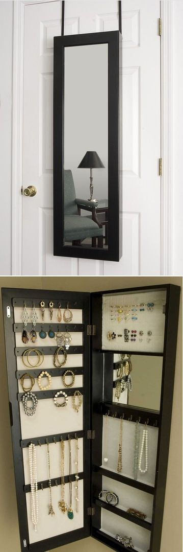 So smart.  Over the door mirror that opens up as a jewelry organizer  love this idea instead of hanging it omy door i'm going to screw it to the wall