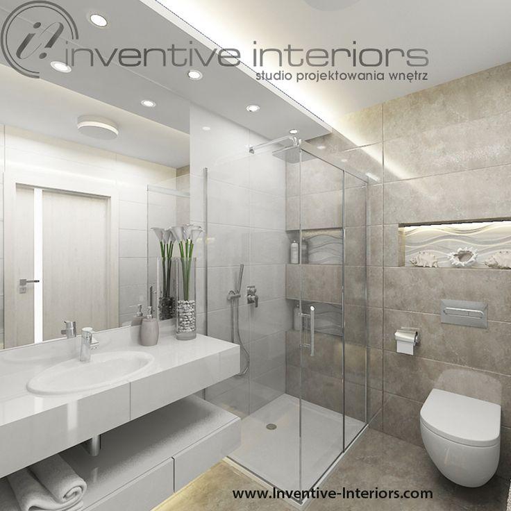 Projekt łazienki Inventive Interiors - płytki o strukturze fali w eleganckiej łazience