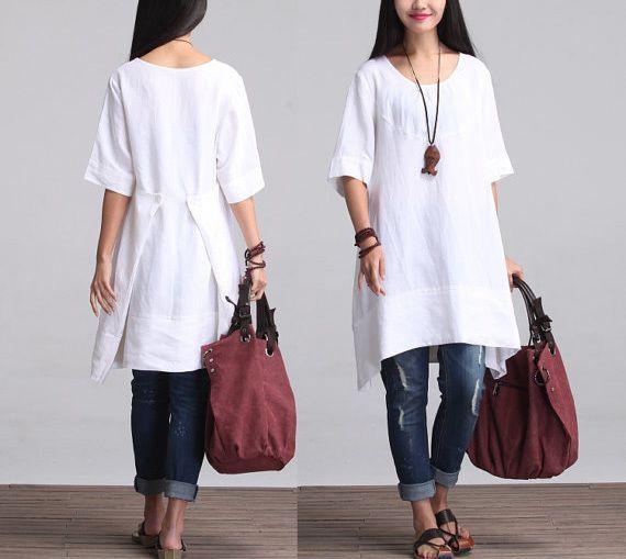 L'Estate di Lino Bianco vestito indossare magliett di ASteria su DaWanda.com