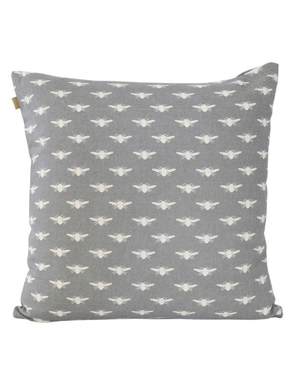Bumble Bee Print Cushion - Grey - Luxury Cushions - Home Textiles