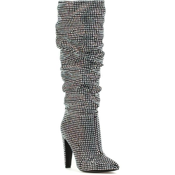 STEVE MADDEN Crushing Rhinestone Boot ($240) ❤ liked on Polyvore featuring shoes, boots, mid-calf boots, rhinestone, heels stilettos, mid calf slouch boots, high heel stilettos, stiletto heel boots and steve madden boots