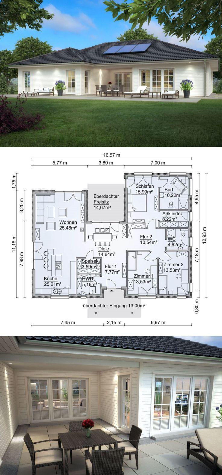 Bungalow Haus im Landhaus Stil mit Holz Fassade, ….
