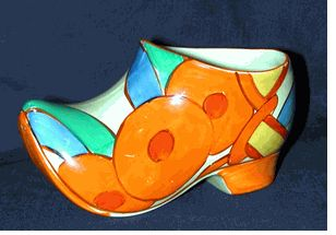 """Sabot/Clog in the Bobbins pattern. Signed """"Fantasque Bizarre by Clarice Cliff"""""""