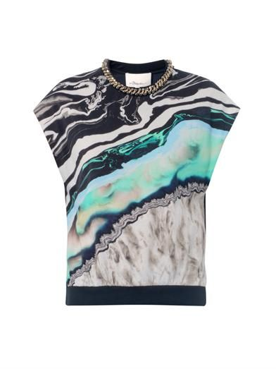 3.1 Phillip Lim Marble geode-print sleeveless top