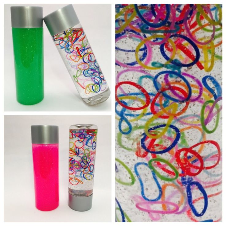 Excited to introduce our newest Sensory Bottle, Rainbow Loom Bands!   #glitter #sensorybottles #calming #calmingbottles #sensoryplay #huddlekidsactivities #invitationtoplay #fun #smile #love #smallbusiness #etsy #colorful #kids #loombands #rainbow