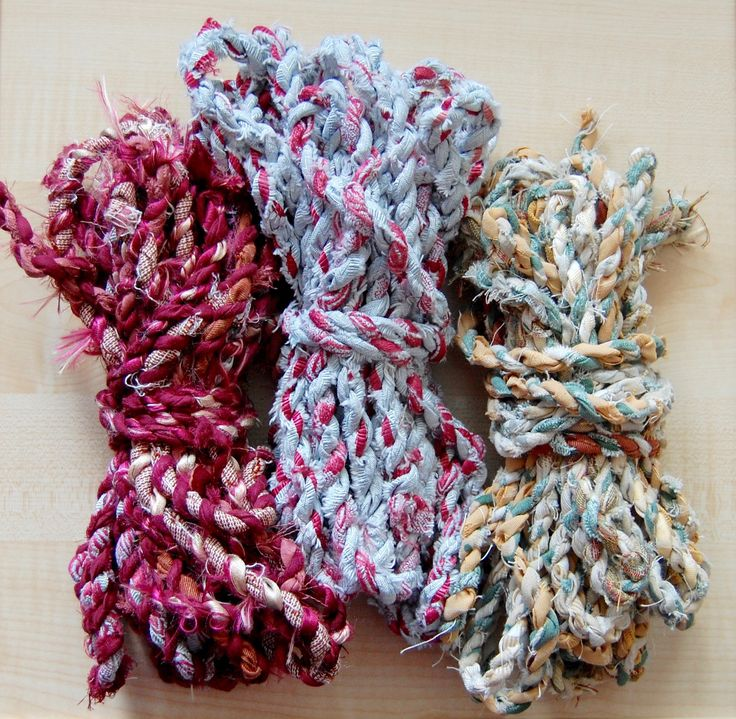 Hand Twisted Recycled Fabric Yarns, 3 bundles each 200g, mixed fabrics  By Everyday Wonders