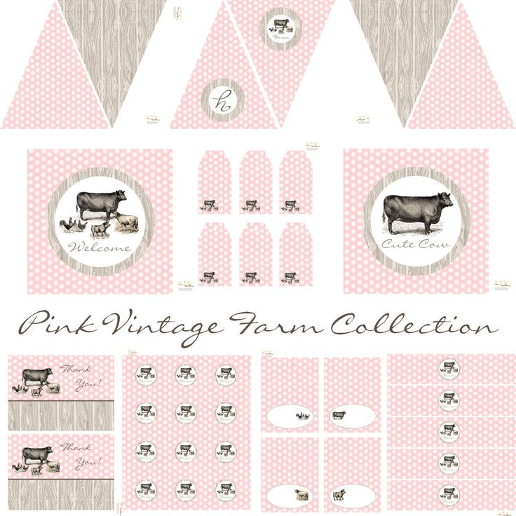 Vintage Farm Party Decorations, Birthday Party, Baby Shower, Banner, Bottle Wraps, Favor Tags, Printable Party, INSTANT DOWNLOAD by BeeAndDaisy on Etsy https://www.etsy.com/listing/123292756/vintage-farm-party-decorations-birthday