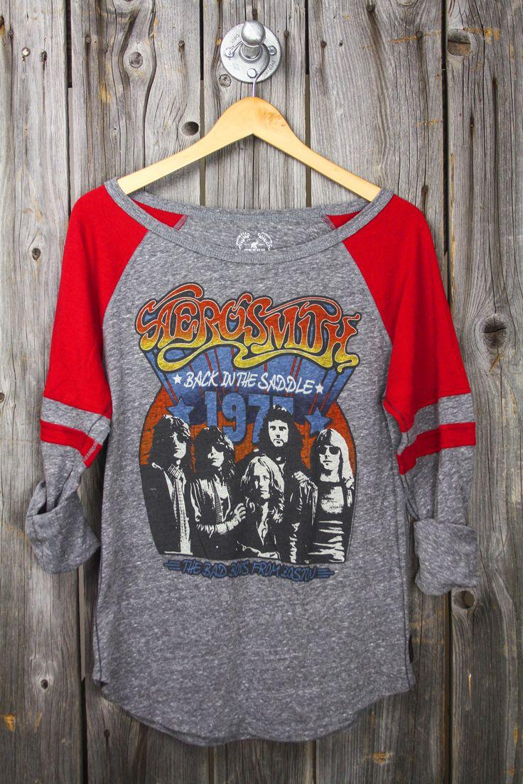 Sugar Cloth- (Large) Aerosmith 77 'Back in the Saddle' Raglan Tri-Blend Tee Large or extra large