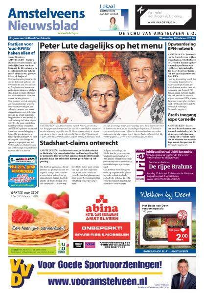Voorpagina nieuws feb 2014  Amstelveens Nieuwsblad voor MasterChef Holland met Peter Lute.