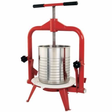 Quickly juice apples, pears, grapes, plums and other fruit with this high-capacity Fruit and Wine Press with Stainless Steel Basket. It has a foldable arch frame to make loading of fruit and unloading of fruit pulp fast and easy. Heavy-duty tubular powder-coated steel frame with a heavy gauge steel pressing plate handles churns out large quantities of juice without fail.
