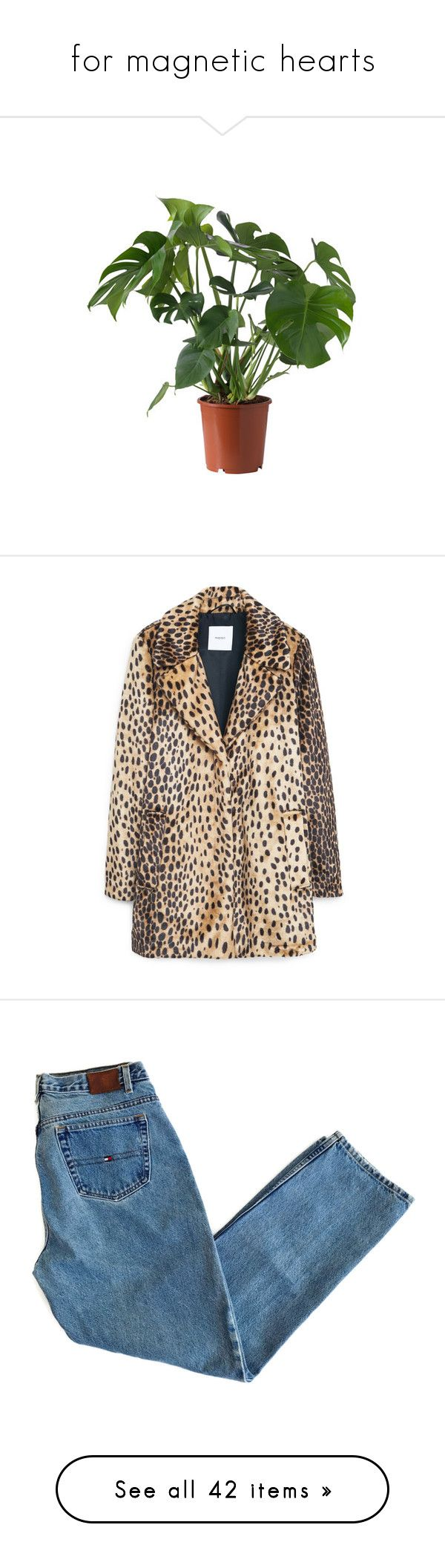 """for magnetic hearts"" by louisesuxx ❤ liked on Polyvore featuring plants, outerwear, coats, jackets, fur coat, coats & jackets, mango coats, leopard print coat, leopard coat and leopard print faux fur coat"