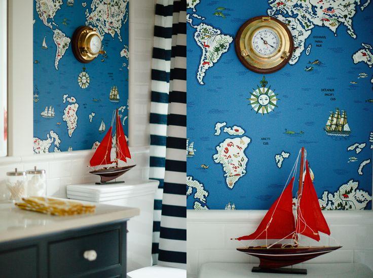 Great Bathroom #nautical #maps #sailboat Red White U0026 Blue