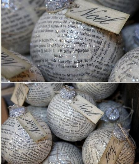 """DIY: Clear glass ornaments decoupaged with old newspapers, sprinkled with glitter and finished off with """"Noel"""" made printed tags"""