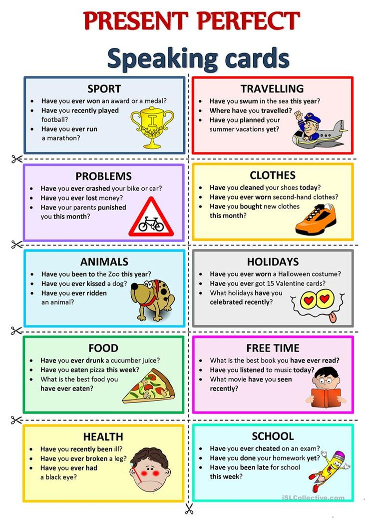PRESENT PERFECT Speaking cards English teaching