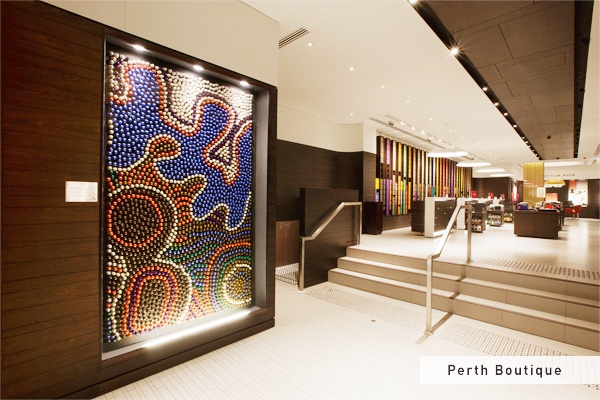 Nespresso Perth Boutique capsule art - This installation was created by Balarinji Design Studio with proceeds going to Indi Kindi, an Aboriginal pre-literacy program. Take a closer look next time you're in a boutique!