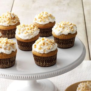 Pumpkin Pie Cupcakes Recipe from Taste of Home -- shared by Melissa Story of Trego, Wisconsin
