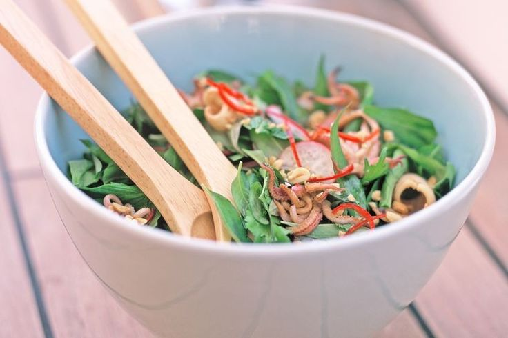 Aromatic herb salad is the perfect complement to succulent chilli-lime squid.