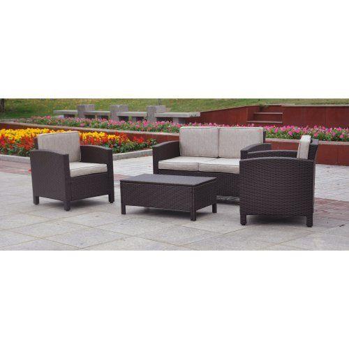 International caravan contempo outdoor wicker resin settee patio set patio furniture walmart - Contempo wicker outdoor furniture ...
