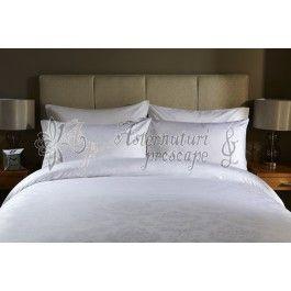 Behrens Damask alb - lenjerie de pat de lux 2 persoane
