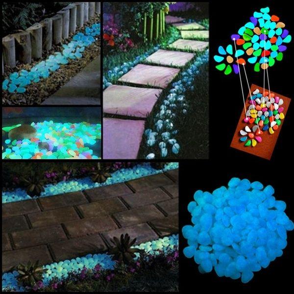100x Glow in the Dark Pebbles Stone Home Garden Walkway Aquarium Fish Tank Hot