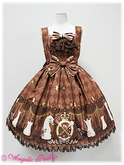 Chess Chocolate jabot JSK in brown - Angelic Pretty