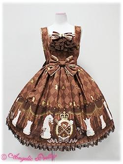 Chess Chocolate jabot JSK in brown - Angelic Pretty